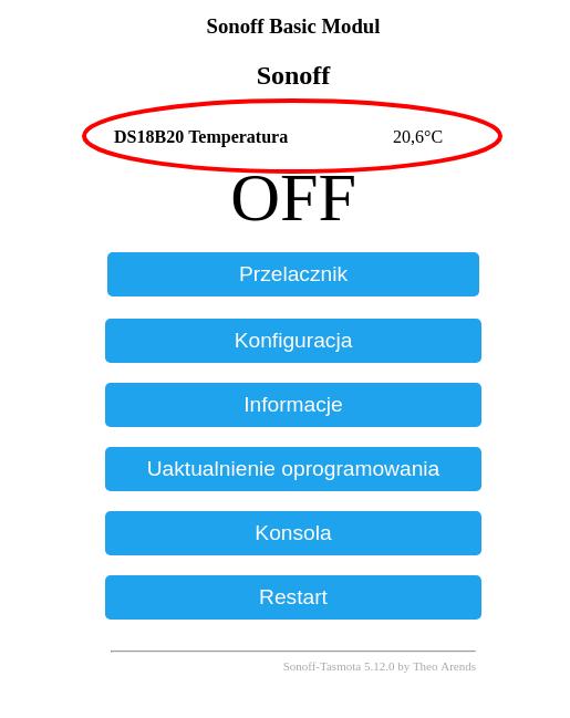 Temperatura z DS18B20 w Sonoff Basic