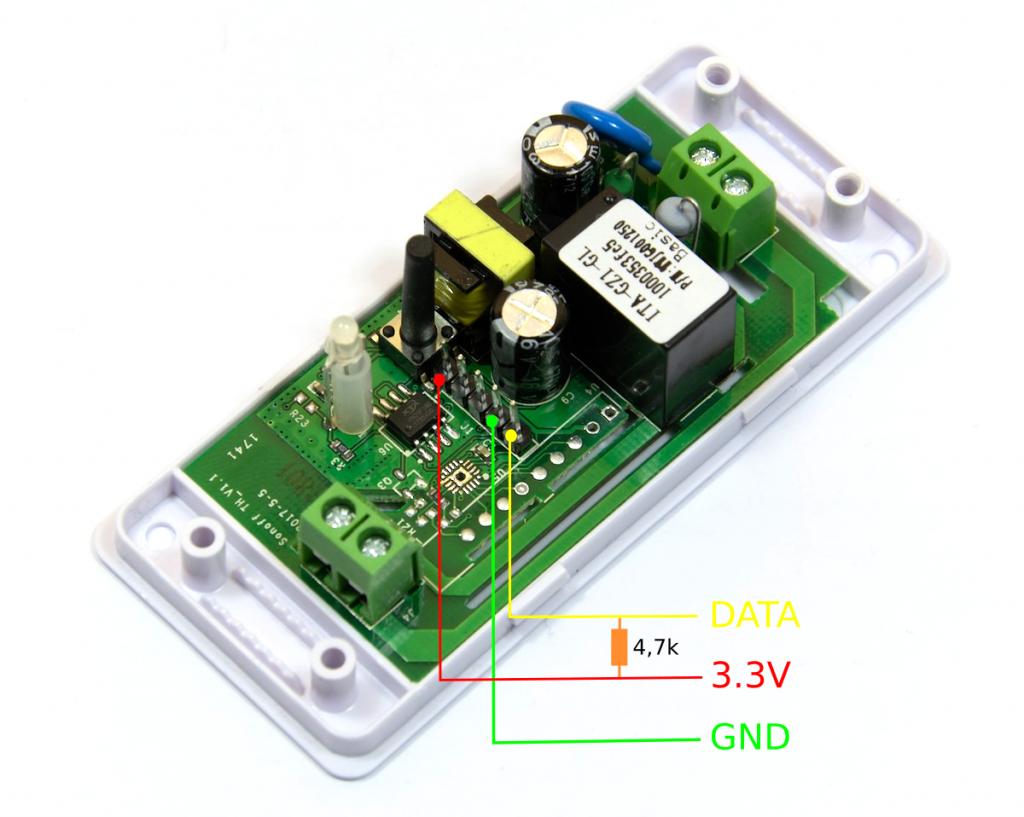 Schemat podłączenia czujnika DS18B20 do Sonoff Basic